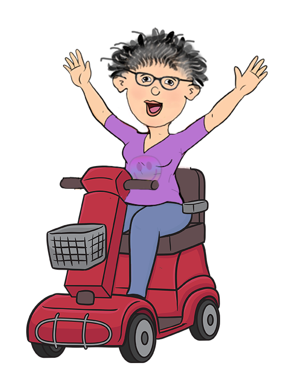 Cartoon of happy lady on scooter